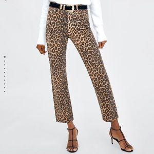 Zara leopard print high waist straight leg jeans 8